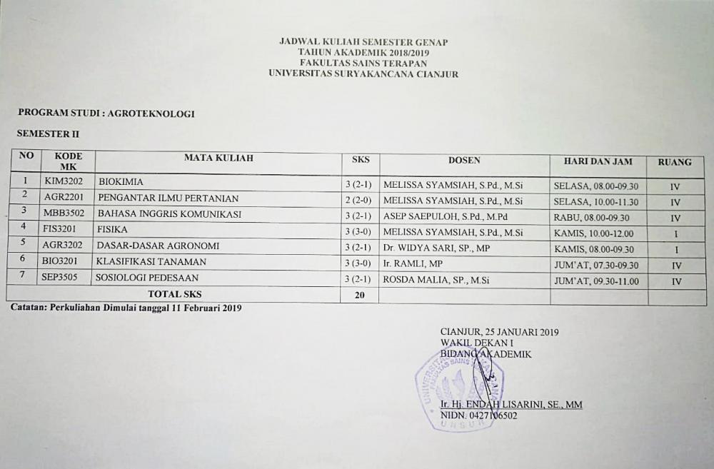 JADWAL KULIAH SEMESTER GENAP TH AKADEMIK 2018 / 2019