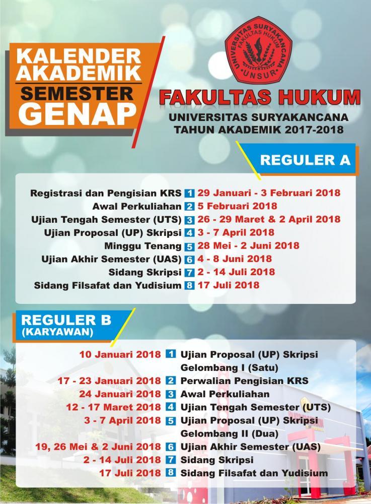 Kalender Akademik Semester Genap Tahun Akademik 2017 / 2018