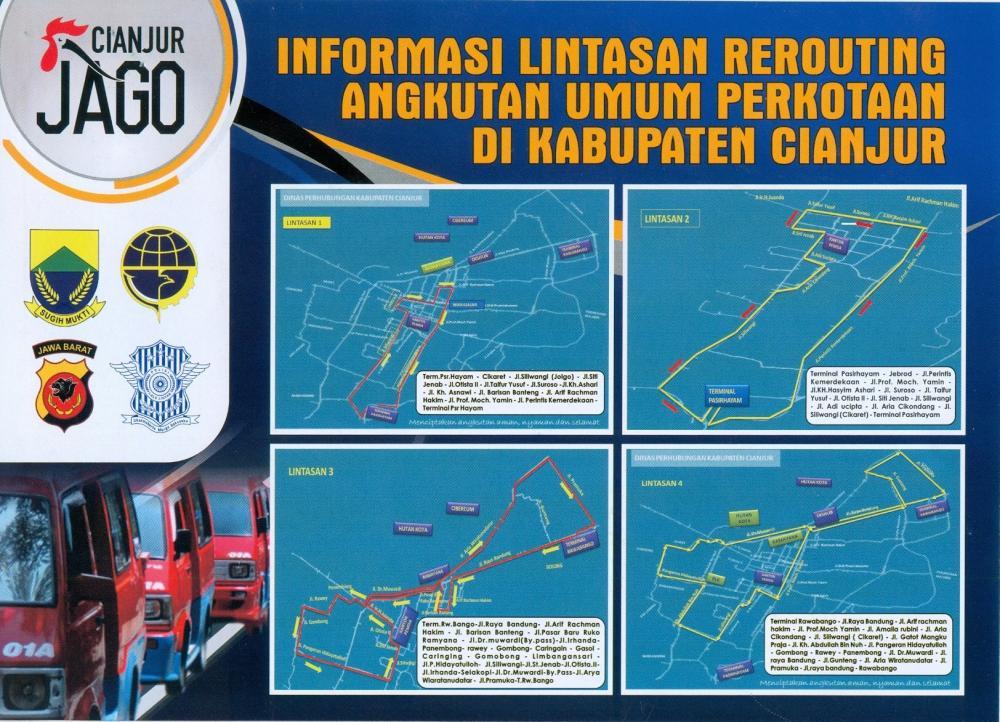 Informasi Lintasan Rerouting Angkutan Umum Perkotaan di Kabupaten Cianjur