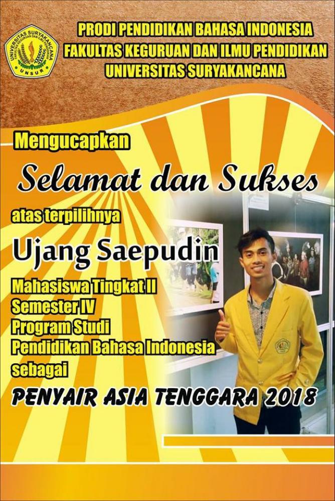 Selamat dan Sukses (Ujang Saepudin) Penyair Asia Tenggara 2018