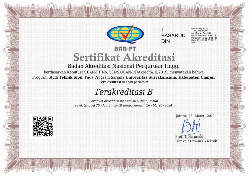 Prodi Teknik Sipil FT Raih Akreditasi B