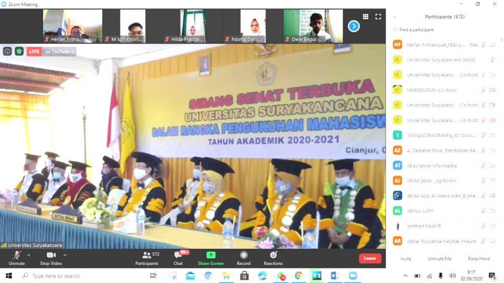 616 MABA UNSUR TAHUN AKADEMIK 2020-2021 IKUTI PKKMB DARING
