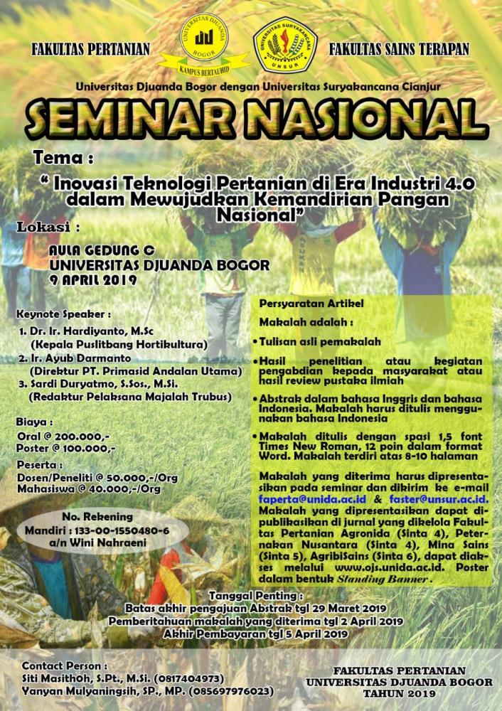 """SEMINAR NASIONAL """"Inovasi Teknologi Pertanian di Era Industri 4.0 dalam Mewujudkan Kemandirian Pangan Nasional"""""""