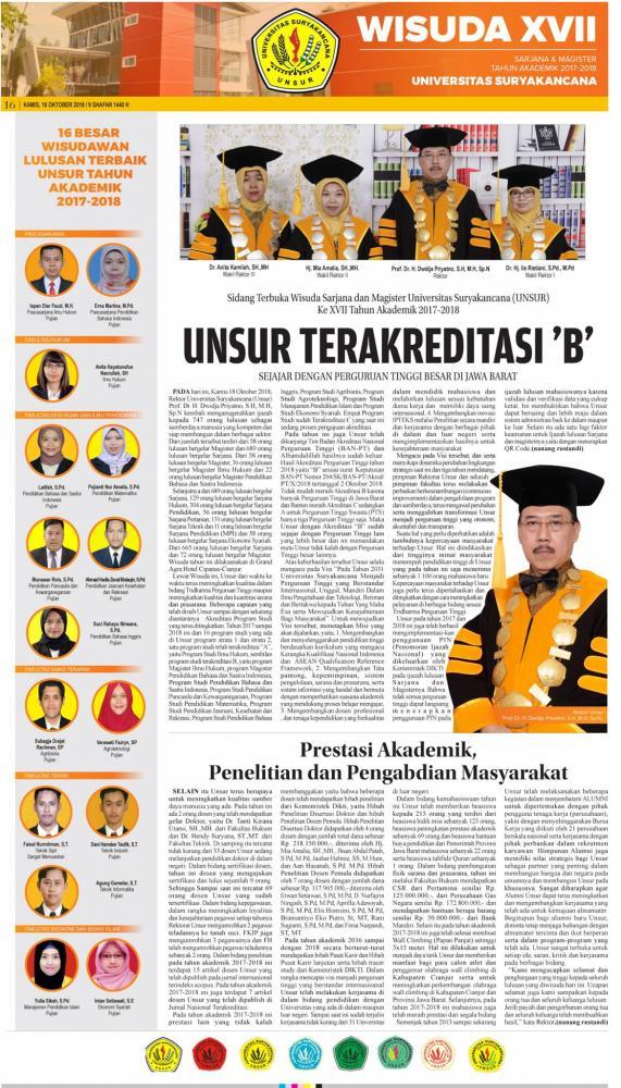 Sidang Senat Terbuka Wisuda Sarjana dan Magister Unsur Ke 17
